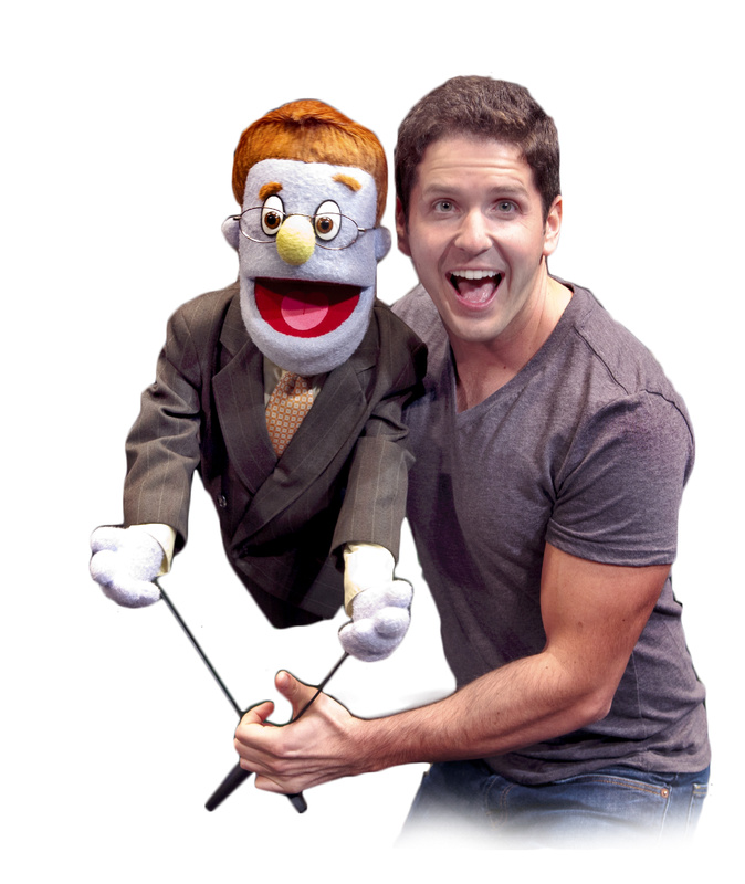 Howie Michael Smith with the puppet Rod.