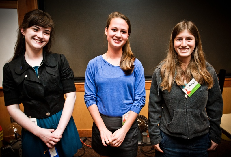From left, Devin Fletcher, Eliza McKenney and Michelle Kahn took top honors at the Maine State Science Fair on Saturday.