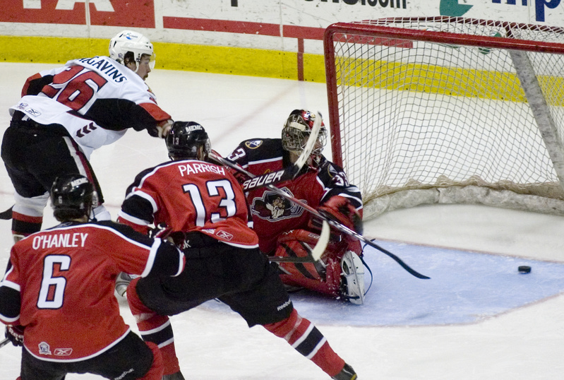 Binghamton's Kaspars Daugavins scores one of his two goals in tonight's game as the Senators crushed the visiting Pirates 6-1 to take a 3-1 series lead in the Eastern Conference semifinals.