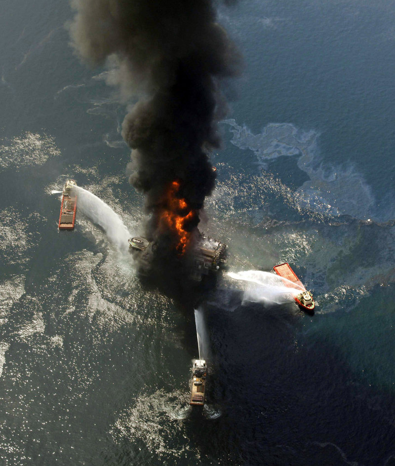 The Deepwater Horizon oil-drilling rig burns in this April 21, 2010, file photo.