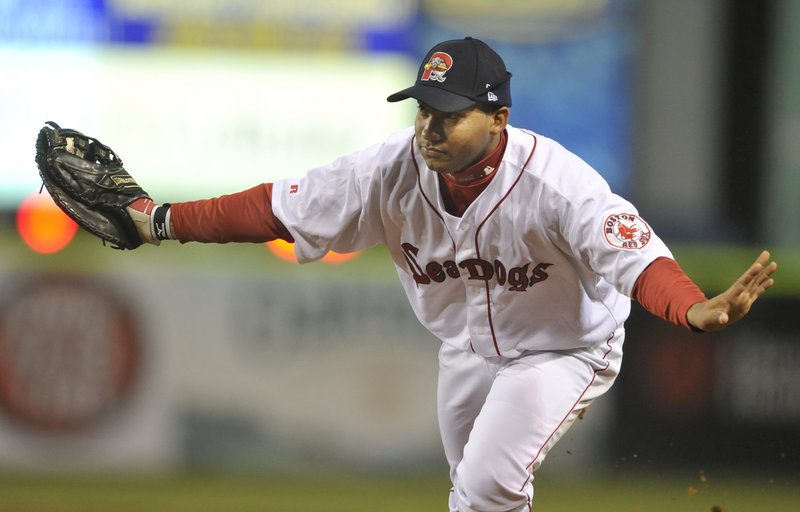 Sea Dogs first baseman Jorge Padron waves off the pitcher after fielding a ground ball in a game against Binghamton in April. The Dogs take on Reading Tuesday and Wednesday at Hadlock Field.