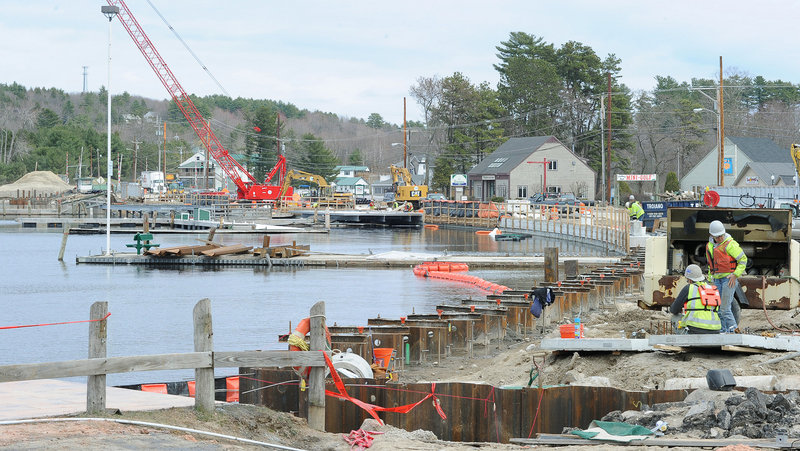 As work continues on the replacement of a swing bridge with a fixed-span bridge on Route 302 in Naples, the closing of one lane is holding up traffic for up to 20 minutes during rush hour, says a DOT spokesman. Between Memorial Day and Labor Day, two lanes will open back up again, he said.