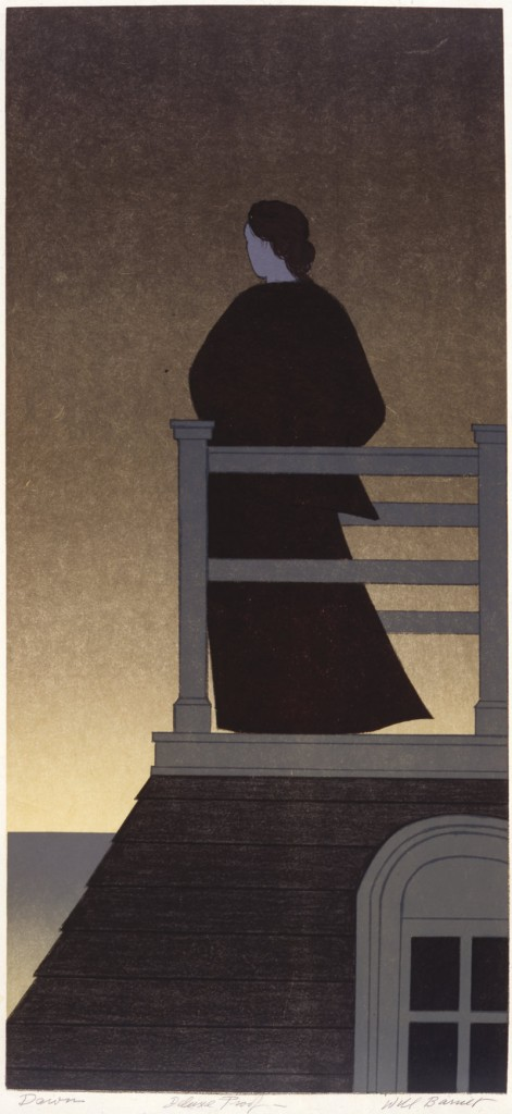 Dawn, a 1975 lithograph by Will Barnet, from the installation of his work at the Portland Museum of Art.
