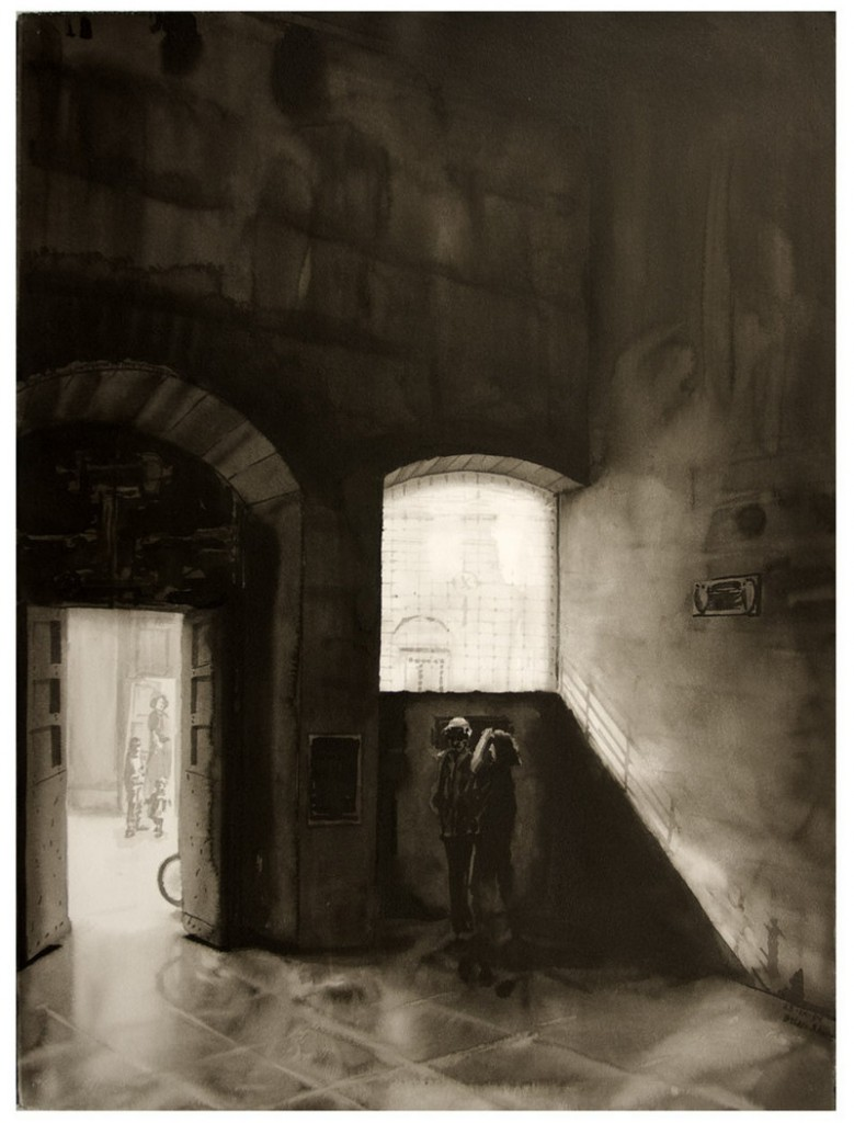 Sienese Cortile by Brian Shure, 1994, ink on paper, courtesy of the artist/Katharina Rich Perlow Gallery, N.Y.