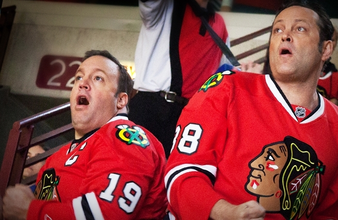 Kevin James, left, and Vince Vaughn in a scene from