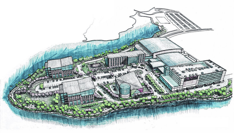 This conceptual drawing illustrates the plans for The Forefront at Thompson's Point complex.