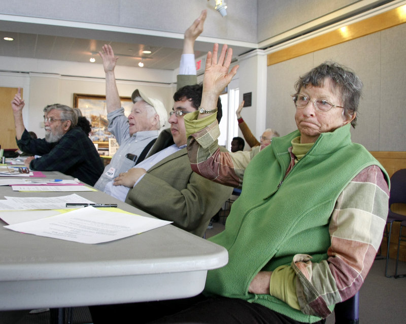 Lynne Harwood of Anson, right, joins fellow Maine Green Independent Party members Patrick Banks of Portland and Fred Dolgon of Old Orchard Beach as they vote on an energy amendment during the party's annual statewide convention Sunday in Brunswick.