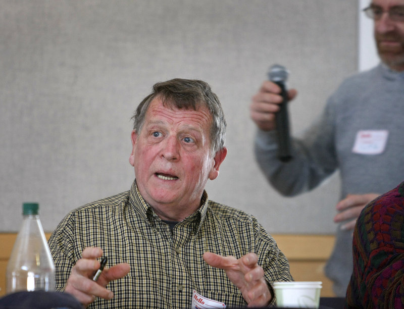 Phil Sheridan of Appleton comments on an energy issue during the Maine Green Independent Party's annual statewide convention Sunday in Brunswick.