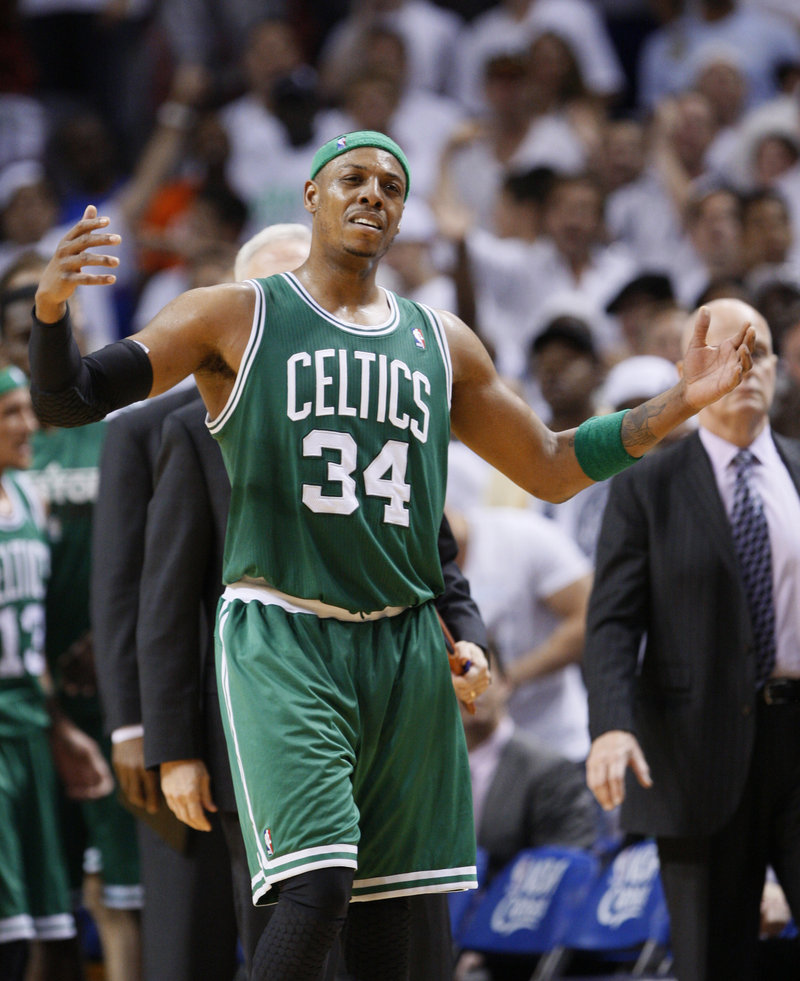 Paul Pierce and the Celtics endured a frustrating afternoon Sunday as the hot-shooting Heat grabbed momentum early and held on to win. Pierce was ejected with 7 minutes left.