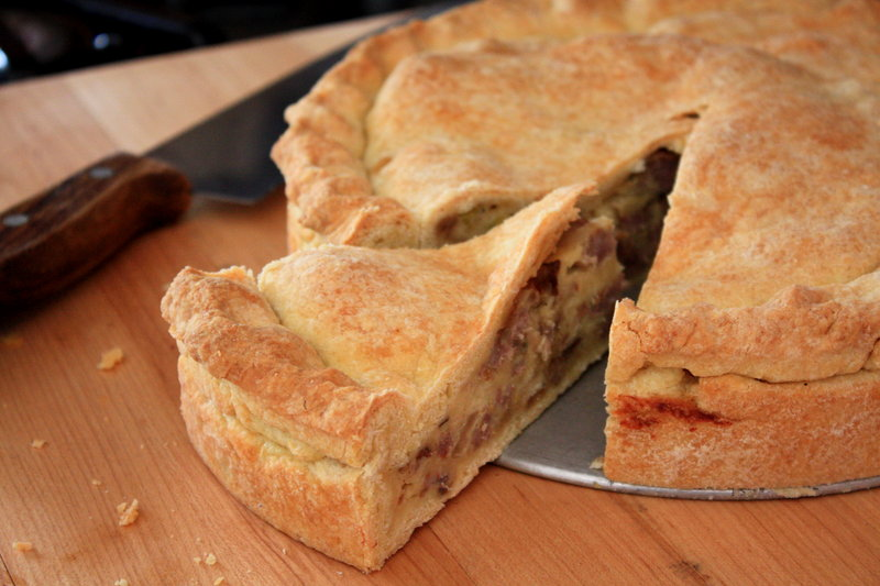 Photo by Elizabeth Poisson Three-Cheese Sausage, Leek and Mushroom Deep Dish Pie makes for a delicious use of Maine-grown mushrooms.