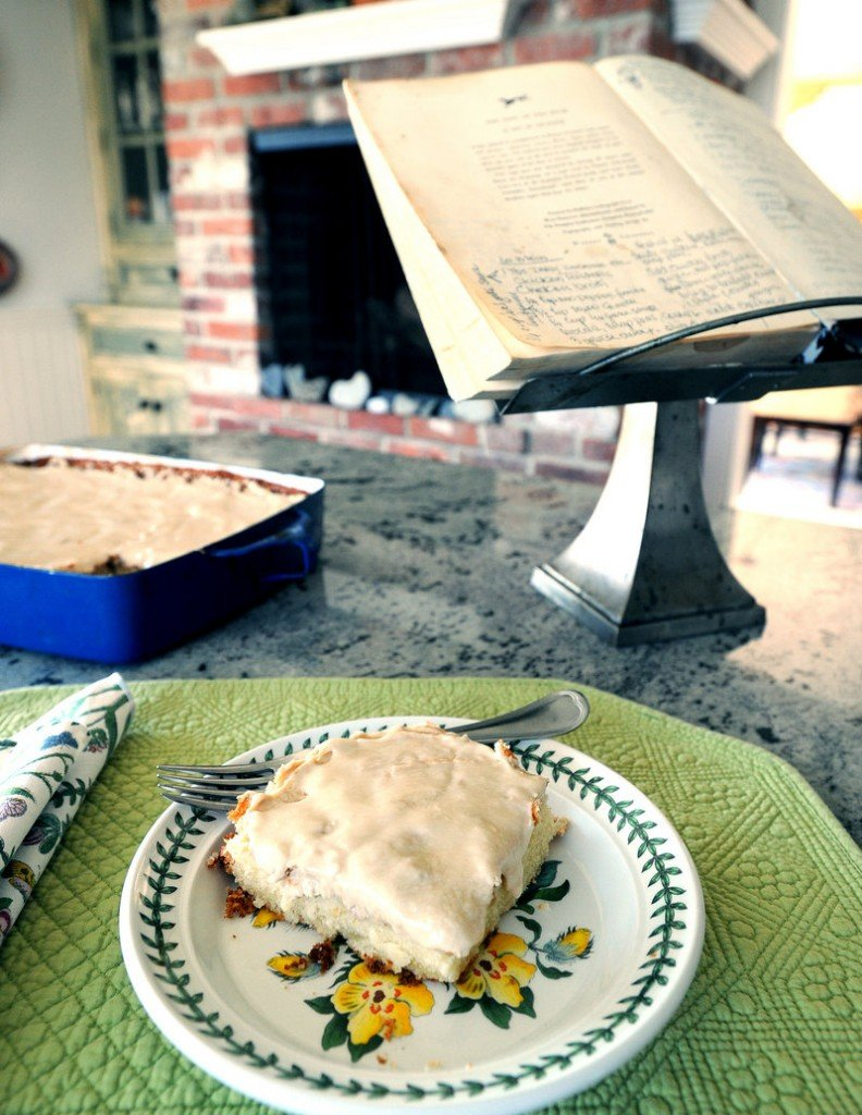 In Candace Pilk Karu's home in Cape Elizabeth, Velvet Crumb Cake sits beside her mother's old