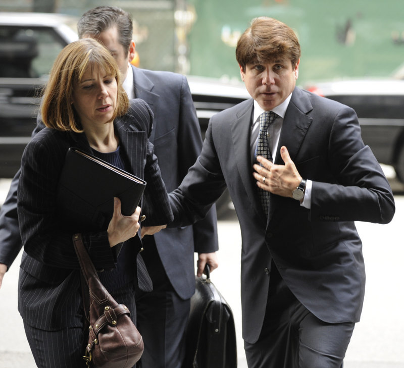 Former Illinois Gov. Rod Blagojevich and his wife, Patti, arrive at federal court for his second corruption trial Monday in Chicago. Blagojevich is accused of trying to profit from President Obama's former Senate seat.