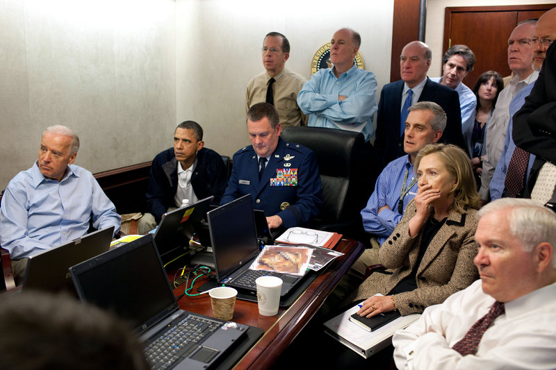 President Obama, Vice President Joe Biden, Secretary of State Hillary Rodham Clinton and others monitoring Sunday's raid had to endure one heart-stopping moment when a U.S. helicopter stalled upon arrival in Osama bin Laden's compound and had to be abandoned.
