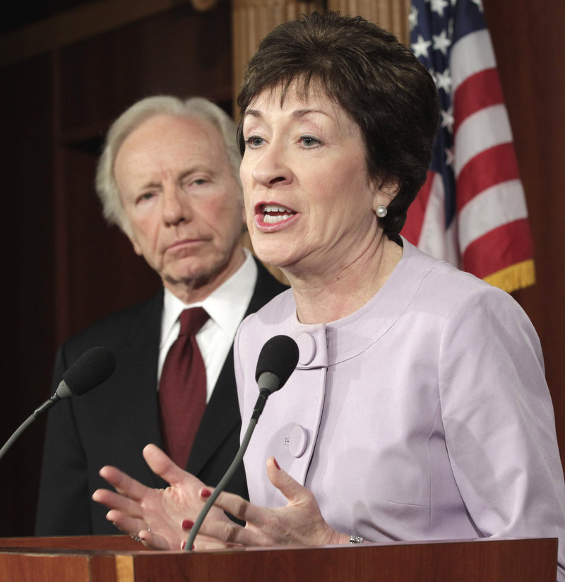 Senate Homeland Security and Governmental Affairs Committee ranking Republican Sen. Susan Collins, R-Maine, with committee chairman Sen. Joseph Lieberman, I-Conn., speaks during a news conference Monday in Washington.