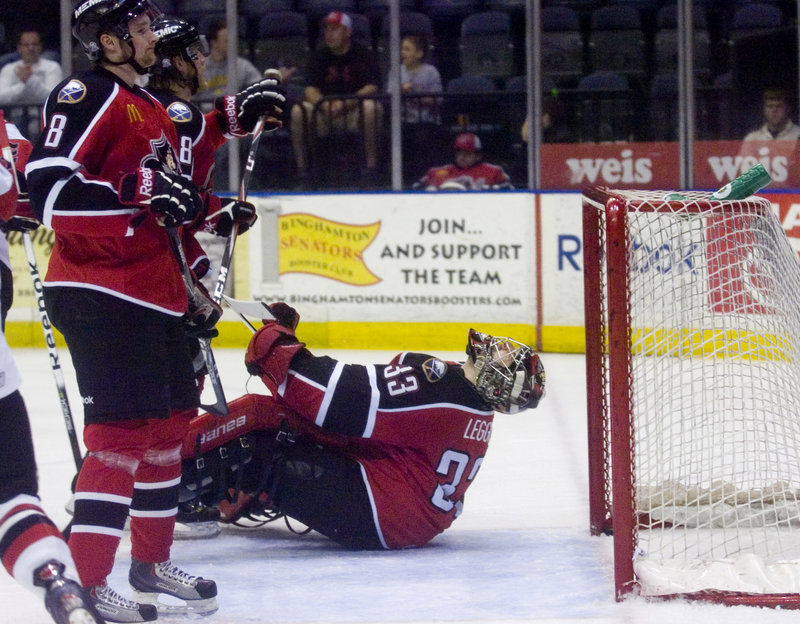 Portland goaltender David Leggio reacts as Binghamton's Ryan Keller scores for a 3-1 lead in the first period of Game 4 of the Atlantic Division championship series Monday night in Binghamton, N.Y. One more loss in the best-of-seven series will end the Pirates' season.