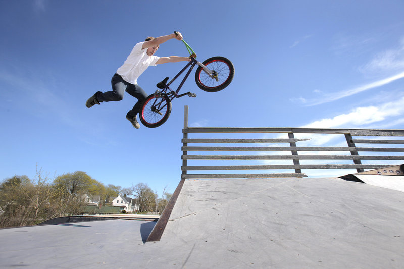 Mike Bonney, 16, says the bike tracks and trails at the proposed Rockland Outdoor Adventure Park would enable him to push his skills to a higher level. Bonney's abilities are outgrowing the half-pipes and ramps at the city's current skate park, he says.