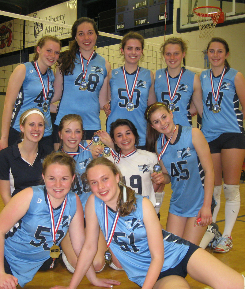 Members of the Maine Junior Silver Bullets, who won a New England volleyball title Sunday: front, from left, captains Olivia Hennedy and Katie Ventre; middle, Coach Michelle Forbes, Hallie O'Donnell, Samantha Robinson, Mariah McKeown; back, Gina Robertson, Anne Read, Hannah Rolland, Emily Doyon and Caroline Petitti.