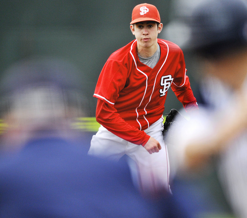 South Portland pitcher Andrew Richards tossed a three-hit shutout with seven strikeouts while throwing an assortment of pitches.