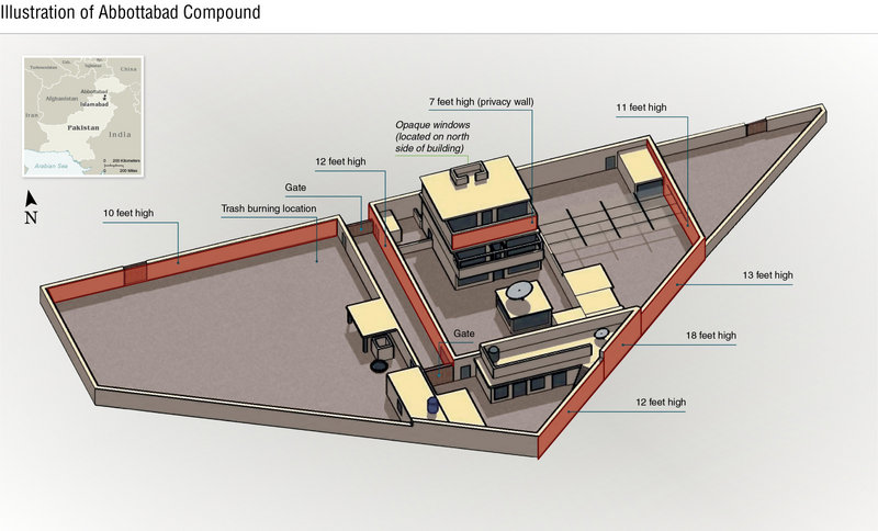 This undated artist's rendering provided by the CIA shows the Abbottabad compound in Pakistan where SEAL Team Six landed and ran down Osama bin Laden after months of intelligence gathering.