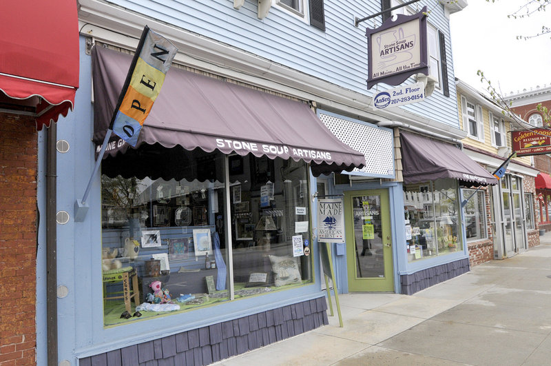 The shop on Saco's Main Street displays an eclectic array of handmade items for shoppers' perusal.