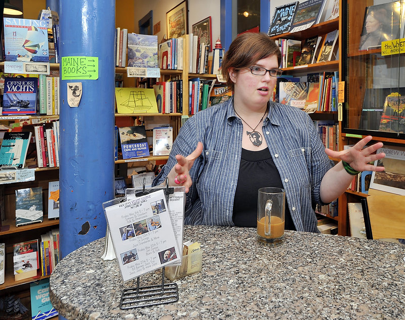 """Lacy Simons, the longtime manager of Rock City Books & Coffee in Rockland, is buying the book side of the business. """"I am fully confident I will be doing well,"""" she said."""