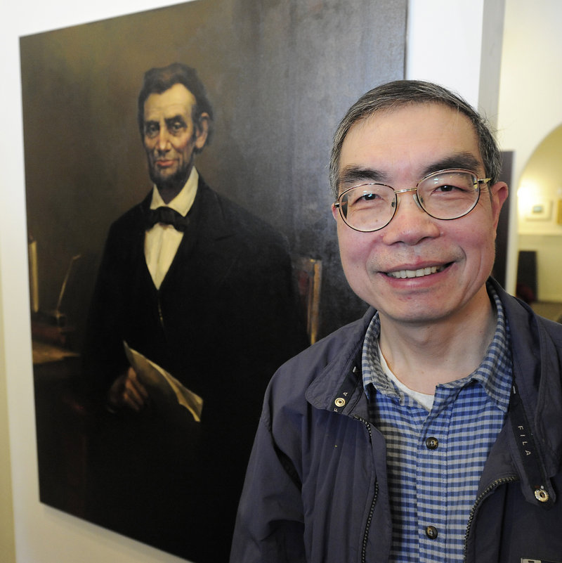 Artist Christopher Zhang of East Lyme, Conn., stands next to his winning work. Some 59 artists submitted paintings that were based on a single photograph of John Denison Crocker's 1865 original work.