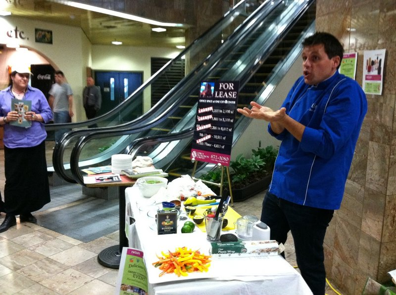 Jon Ashton gives a cooking demonstration at One City Center in Portland during a visit last month.