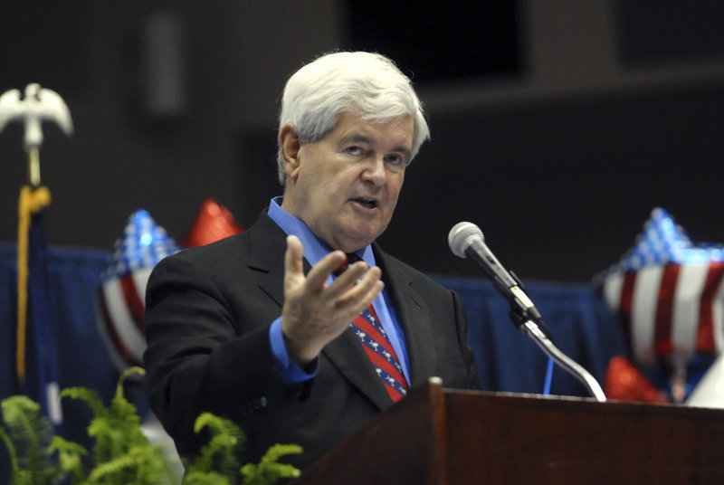 Former House Speaker Newt Gingrich speaks at the Spartanburg County GOP Convention in Spartanburg, S.C., on April 9. Gingrich launched his presidential bid Monday.