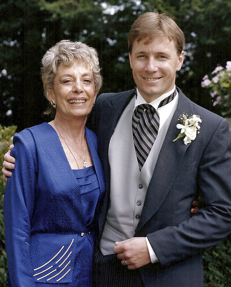 Jeanne Merrow is shown with Lucas Merrow, her son, of Rollinsford, N.H., at his wedding. She died April 29.