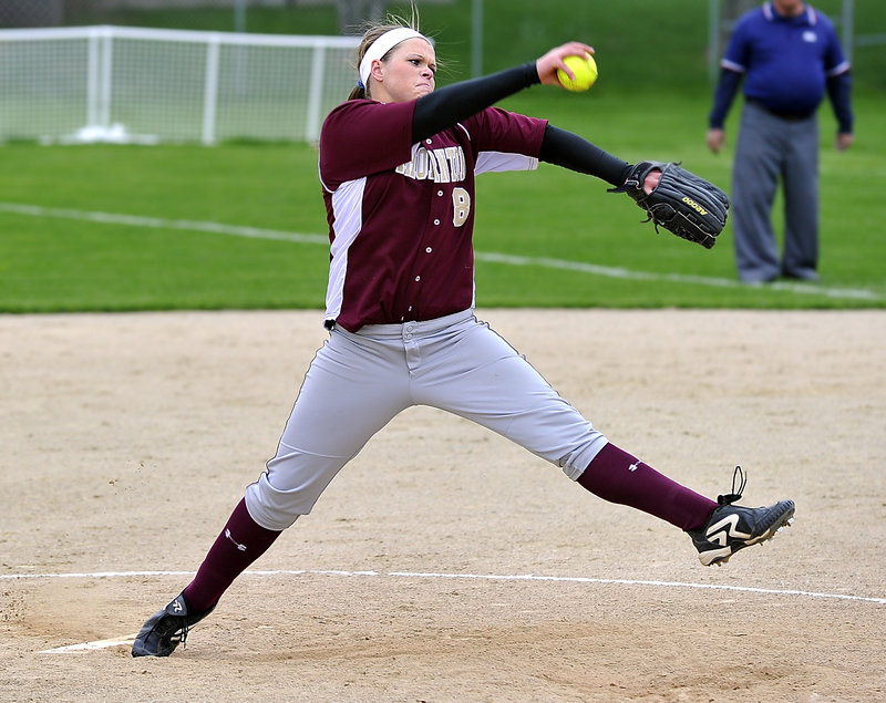 Julia Geaumont of Thornton Academy pitches out of a bases-loaded jam in the seventh inning against Biddeford on Monday afternoon. Geaumont gave up just two hits and struck out seven as the Trojans beat the Tigers 1-0 in nine innings.