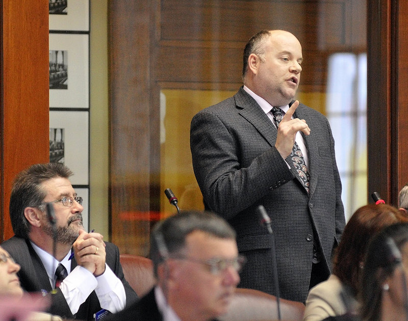 Rep. Lance Evans Harvell, R-Farmington, makes a point during a brief House debate Tuesday on a GOP measure to reform health insurance coverage. The House passed the bill, 79-68.