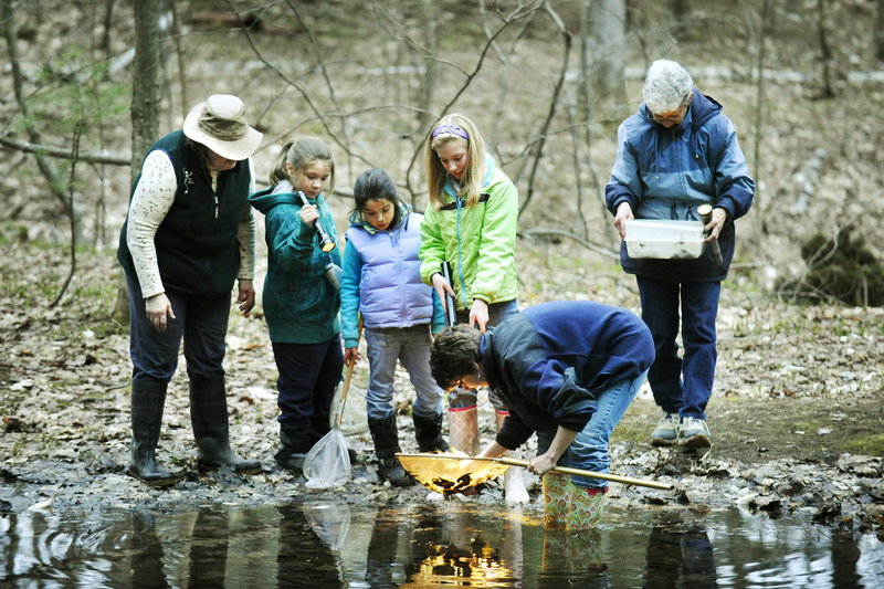 Visitors inspect a net at the Thorncrag Sanctuary, which is about three miles from downtown Lewiston.