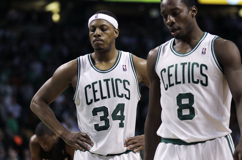 No smiles for the Boston Celtics. Not for Paul Pierce, left, and not for Jeff Green after Monday night's overtime loss at home to the Miami Heat. Boston will be seeking to avoid elimination tonight in Game 5 at Miami.