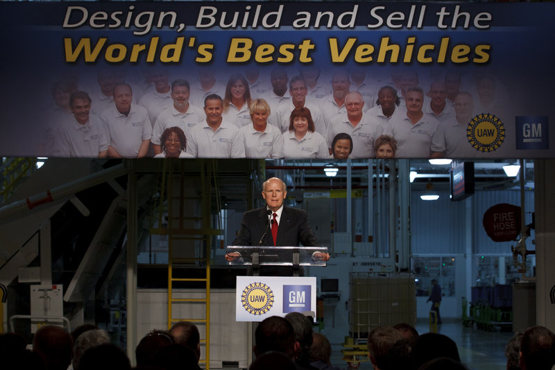 General Motors Chairman and CEO Dan Akerson speaks about new investments at the General Motors Transmission Plant in Toledo, Ohio, on Tuesday. Akerson said GM will add or keep 4,000 jobs at 17 plants in eight states, including 400 new hires at the Toledo plant.