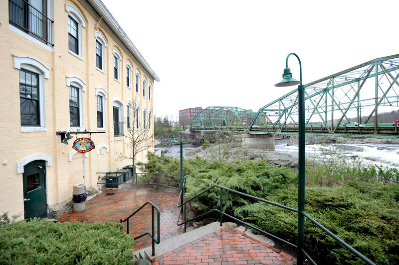 The restaurant is in a renovated mill on the Androscoggin River.