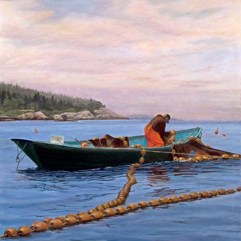 """""""Setting the Nets"""" is one of the paintings by Ann Mohnkern hanging in the new Mercy Primary Care center in Yarmouth, which was designed to show rotating exhibitions of contemporary art."""