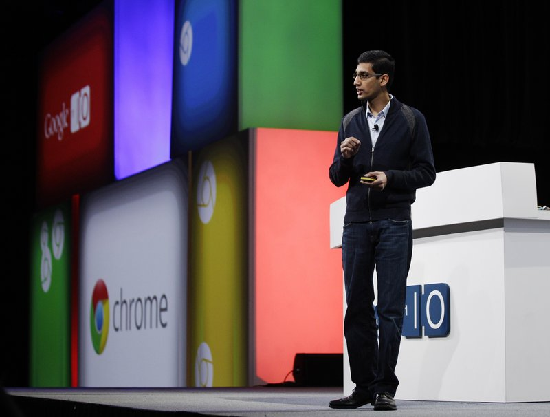 Sundar Pichai, a vice president of product management with Google, speaks at the developers conference in San Francisco Wednesday. Google software will power a laptop that will be manufactured by Samsung and Acer.