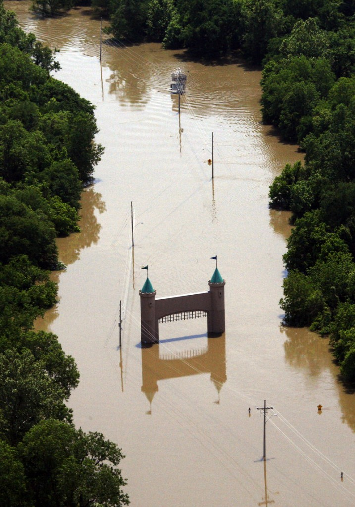Mississippi River floodwaters surround the entrance gate to Fitzgeralds Tunica, a casino and hotel in Robinsonville, Miss., on Wednesday. The Mississippi has flooded 3 million acres in Arkansas, Tennessee and Mississippi.