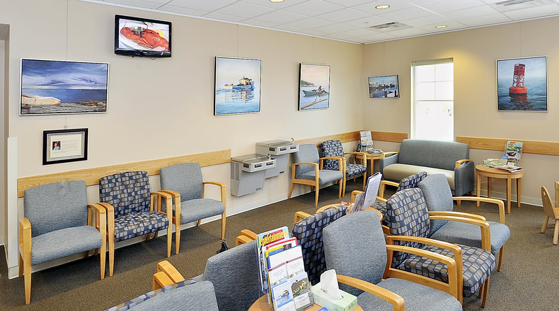 """Mohnkern's paintings grace the waiting room at Mercy Yarmouth. """"When people come in here to see Ann's work, it doesn't feel like a place of sickness,"""" said Susan Dempsey Rouillard, Mercy's chief development officer."""