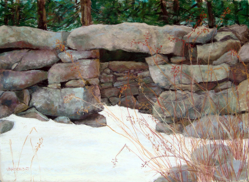 """""""Waldoboro Horse Paddock,"""" a pastel by Barbara Vanderbilt, will be at the Downtown Gallery in Washington."""