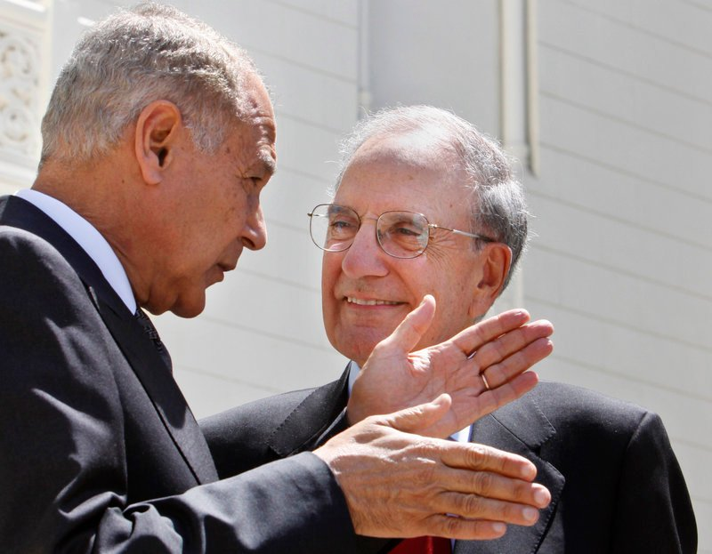 Mideast envoy George Mitchell, right, talks with Egyptian Foreign Minister Ahmed Aboul Gheit during a visit in 2009.