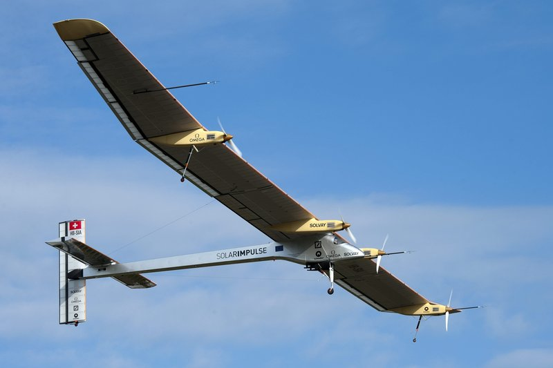 The experimental aircraft Solar Impulse takes off from Payerne, Switzerland, for its flight to Brussels, Belgium, on Friday morning.