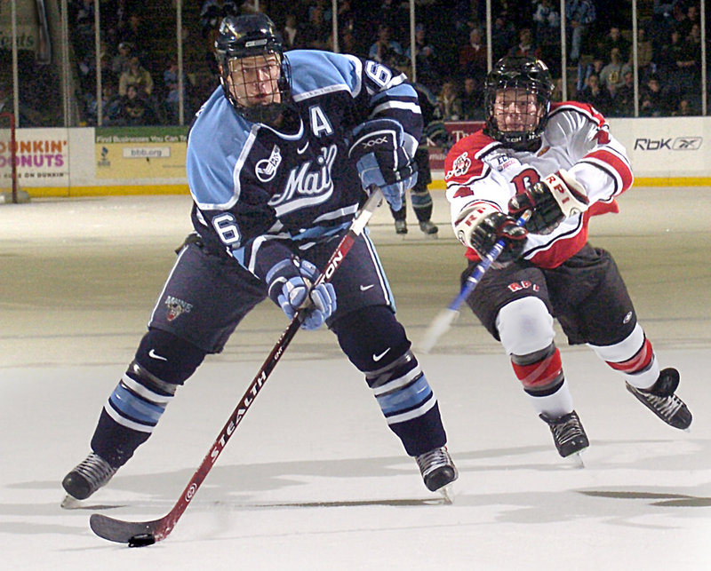 Rob Bellamy played at Maine from 2004 to 2008 before turning pro in the Philadelphia Flyers organization. He played this season in England.