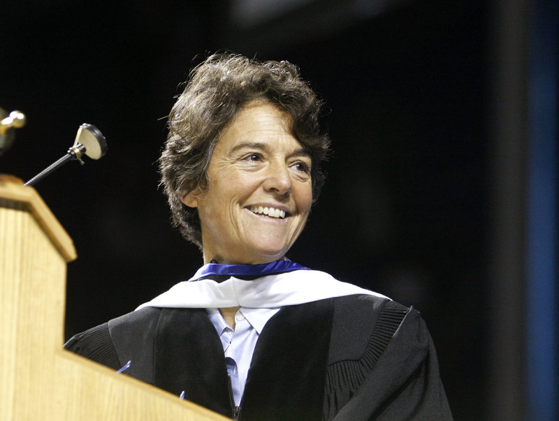 Linda Greenlaw of Isle au Haut, America's only female swordfishing captain, delivers the USM commencement address Saturday.