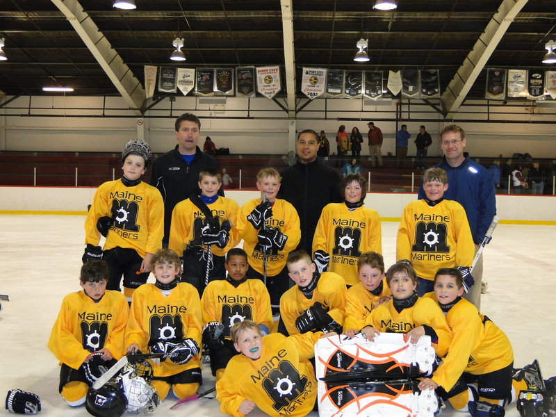 The Maine Mariners, a team of 13 boys from the Casco Bay Youth Hockey Association and Portland Junior Pirates, compiled a record of 2-1-1 at the Oyster Cup tournament in Charlottetown, Prince Edward Island. The Mariners played in 2002 bracket, based on the players' birth year. Team members were: Front, Alex Ramsay of Freeport; Second row, Brady Desjardins of Westbrook, Al Whyte of Cumberland, EZ Cormier of South Portland, Jack Williams of Biddeford, Will Winter of Freeport, Carson James of Falmouth and George Norris of Falmouth; Third row, Owen O'Connell and Matt Kramlich of North Yarmouth, Andy Moore of Cumberland, Zander Lizotte of Scarborough and Willets Meyer of Freeport.