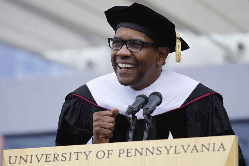 Actor Denzel Washington speaks at commencement at the University of Pennsylvania. He talked about his struggles in college and said he came close to flunking out before switching to drama and getting his degree.