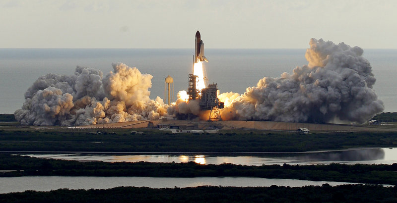Space shuttle Endeavour clears the launch pad in Cape Canaveral, Fla., on Monday after a delay of more than two weeks.
