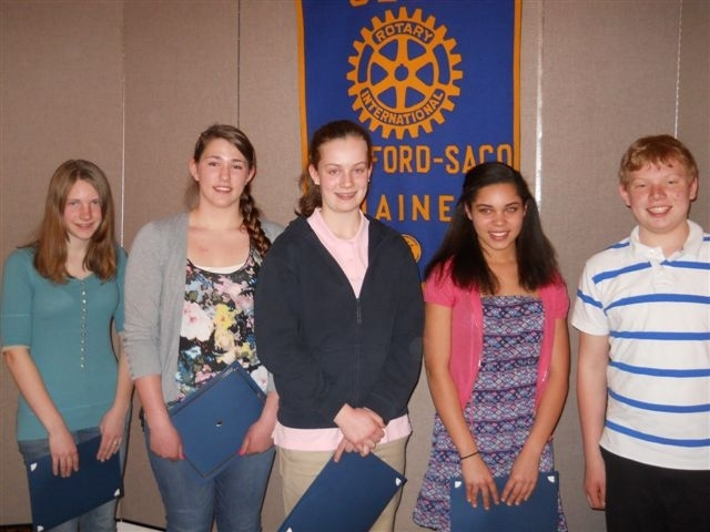 The Biddeford-Saco Rotary Club's 15th annual Essay Contest winners include, from left, Marissa Heffernan of Biddeford Middle School, Jenna Paul of Thornton Academy Middle School in Saco, Mary Furlong of Notre Dame School in Saco, Allie Petaway of Saco Middle School and Andrew Gillis of Loranger Middle School in Old Orchard Beach. Not pictured is Siobhan Kenneally of St. James School in Biddeford.