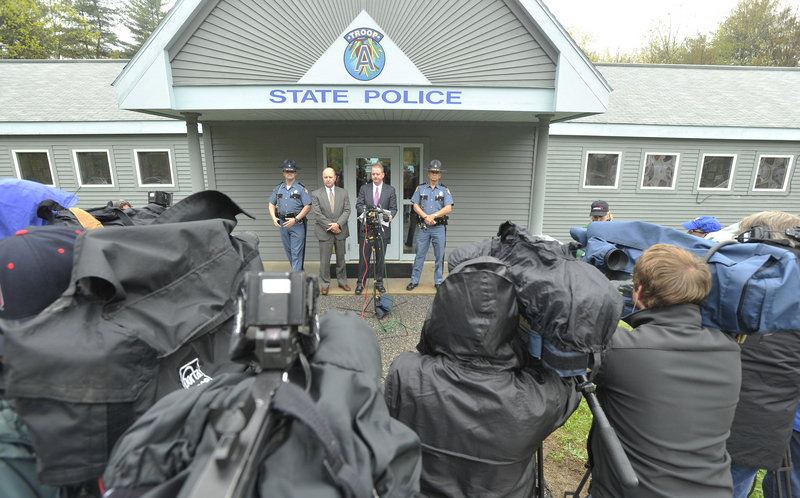 Maine State Police investigators discuss the McCrery case with the media Wednesday at the barracks in Alfred.