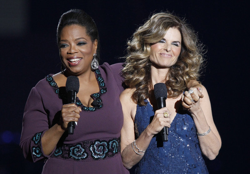 "Maria Shriver left her ""heart-breaking"" family issues in the wings during a taping of Oprah Winfrey's farewell show Tuesday in Chicago."